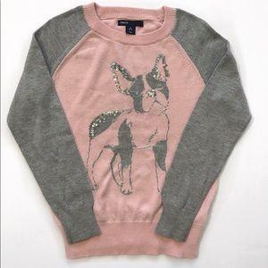 Gap sweater pullover puppy Sequins girls  S 6-7